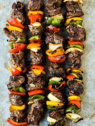 grilled steak kabobs with veggies